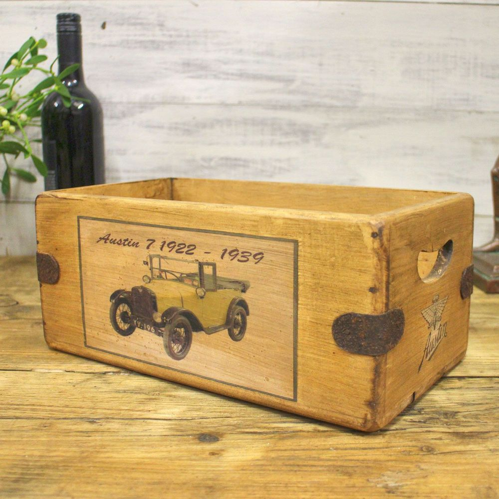 Austin 7 Vintage Box Rustic Wooden Storage Crate Classic Car